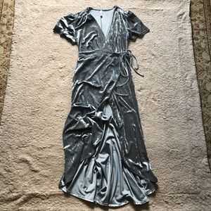 Xhilaration silver/blue velvety wrap dress, medium